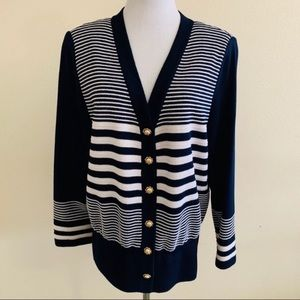 St. John Knit Cardigan Black White Striped V Neck